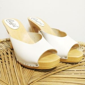 Candie's Vintage Iconic White Leather Disco Heel 9